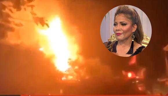 Marisol logra salvarse de incendio en pleno concierto en Casma. (Fuente: ATV´+ / Panamericana TV)