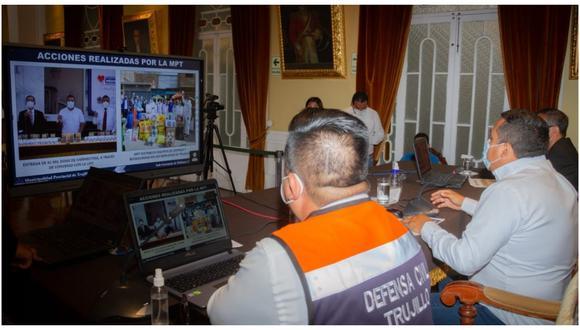 En sesión virtual de la Plataforma de Defensa Civil Provincial se aprobó el plan anual de actividades que buscan fortalecer el trabajo coordinado ante riesgos y desastres.  (Foto: MPT)