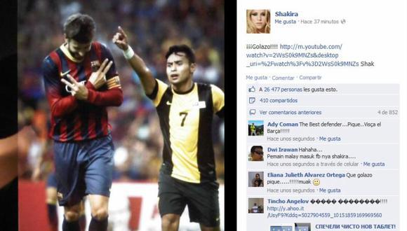 Ya parece su mamá: Shakira publica gol de Piqué en Facebook