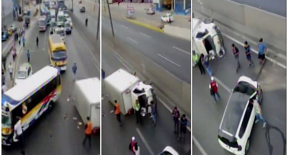 Los Olivos: Reportan triple accidente de tránsito en la Panamericana Norte (VIDEO)
