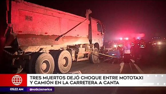 Aparatoso choque entre mototaxi y camión deja tres muertos en Canta