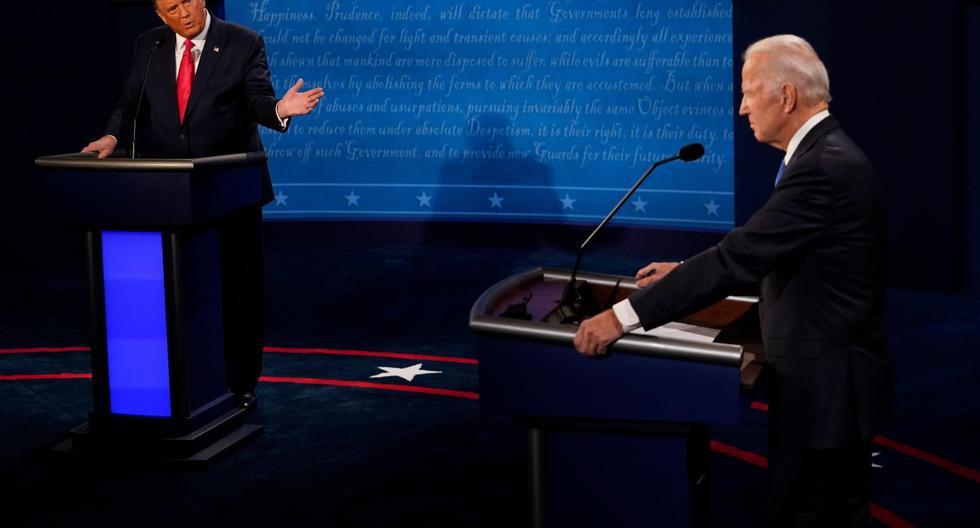 El presidente de Estados Unidos, Donald Trump, hace un gesto hacia el candidato presidencial demócrata Joe Biden durante el debate en la Universidad de Belmont en Nashville, Tennessee. (EFE/EPA/Morry Gash / POOL).