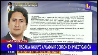 Fiscalía incluye a Vladimir Cerrón como investigado en caso 'Los Dinámicos del Centro' (VIDEO)