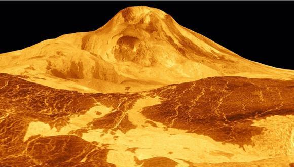 Maat Mons, un gran volcán en Venus, se muestra en esta imagen de radar de color simulado de 1991 de la misión de la nave espacial Magellan de la NASA. | Foto: Europa Press.