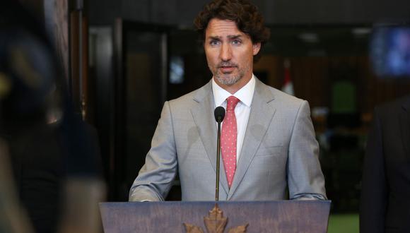 Archivo. En esta foto de archivo tomada, el primer ministro de Canadá, Justin Trudeau, habla durante una conferencia de prensa en Parliament Hill en Ottawa, Canadá. (AFP / Dave Chan).