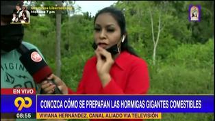 """Reportera prueba mamacos EN VIVO y se sorprende por su sabor: """"Sabe a carne de cerdo"""" (VIDEO)"""