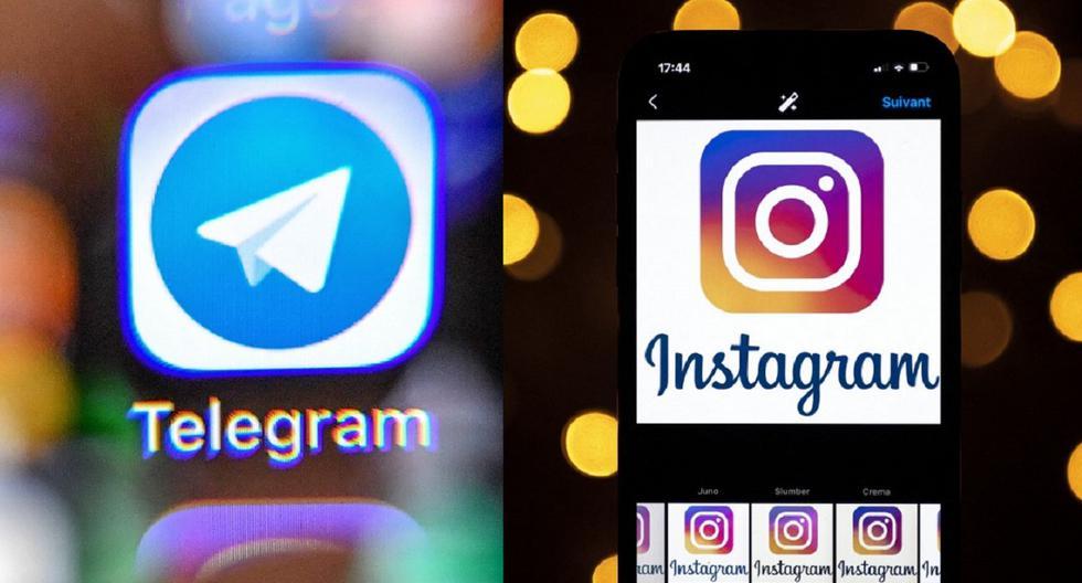 En la foto se aprecia una composición de imágenes de los logos de las aplicaciones de Telegram e Instagram. ( AFP / Yuri KADOBNOV / LIONEL BONAVENTURE)
