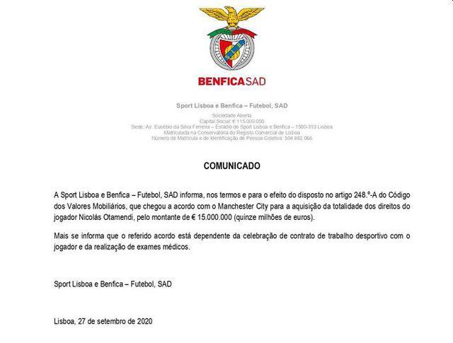 Benfica y el comunicado de la compra de Nicolás Otamendi. (Foto: Benfica)