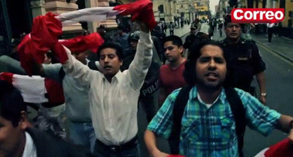 Jóvenes protestan por nuevo régimen laboral juvenil e increpan a Nadine Heredia (Video)