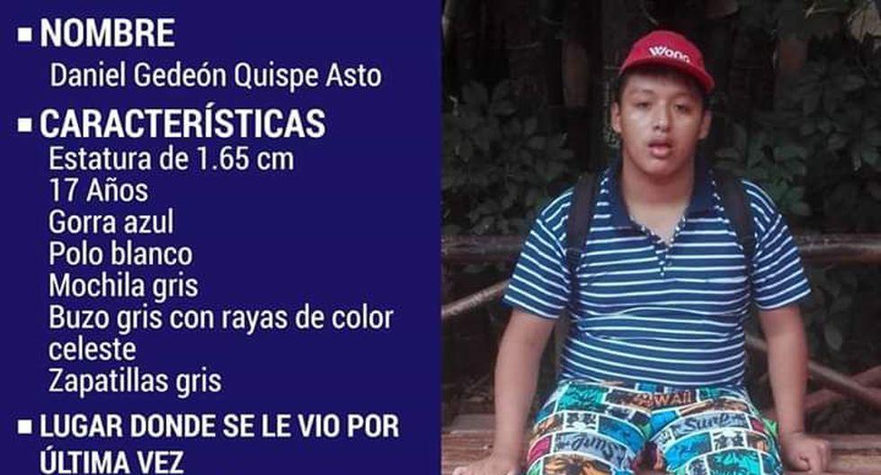 Daniel Gedeón Quispe Asto desapareció cuando se dirigía a la avenida Miguel Iglesias. (Twitter)