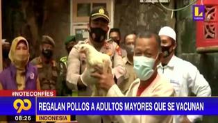 Regalan pollos a los adultos que se vacunen contra el coronavirus en Indonesia