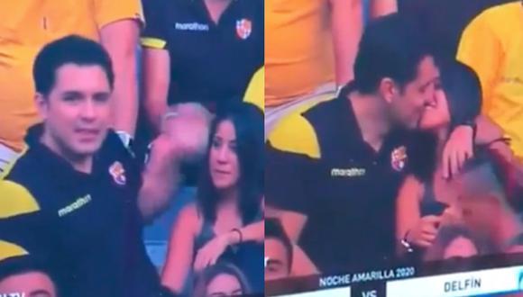 La 'Kiss Cam' capta infidelidad de hincha de Barcelona en la Noche Amarilla