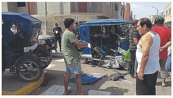 Cinco heridos en choque entre camión y trimóvil
