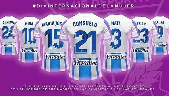 Jugadores del Leganés saldrán a la cancha ante el Atlético de Madrid con los nombres de sus madres