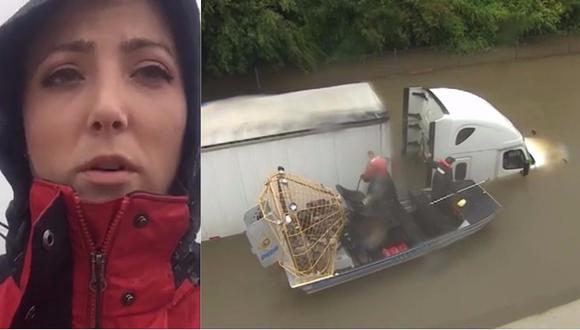 Huracán Harvey: Reportera salvó a conductor de camión atrapado en el agua (VIDEO)