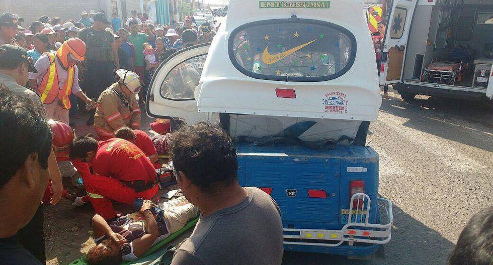 Ilo: Choque de combi y mototaxi deja a 4 mujeres heridas en Pampa Inalámbrica