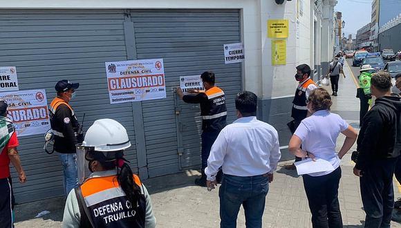 Defensa Civil de la comuna de Trujillo clausura supermecado Metro