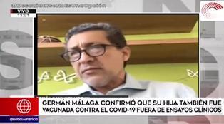 Germán Málaga confirmó que su hija fue vacunada contra la COVID-19