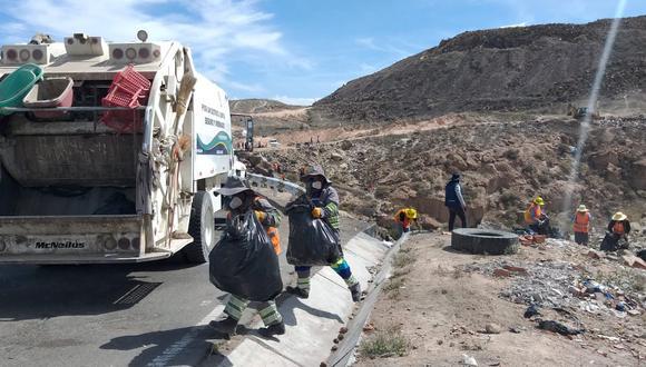 Retiran cincuenta toneladas de basura de quebrada Cuico (Yura) / Foto: Difusión