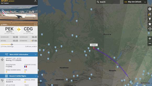 A través de este mapa se puede visualizar el trayecto del vuelo que ya salió de la ciudad de Beijing, en China, y se encuentra en camino con destino a Lima.