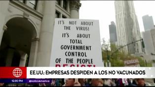 Estados Unidos: Empresas empiezan a despedir a personas no vacunadas