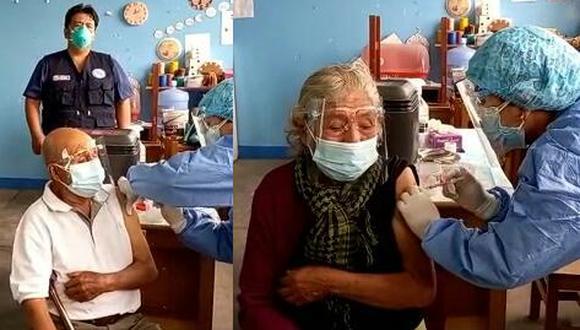 Los abuelos beneficiados con la vacuna de Pfizer tienen 7 hijos, 16 nietos y 3 bisnietos. Se acercaron presencialmente a los vacunatorios para ser inmunizados (Foto: EsSalud)