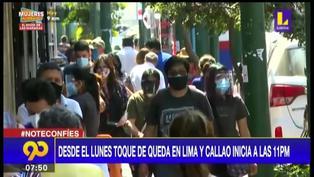 Lima y Callao pasan a nivel de riesgo alto y toque de queda iniciará a las 11 p.m desde el lunes 21 de junio