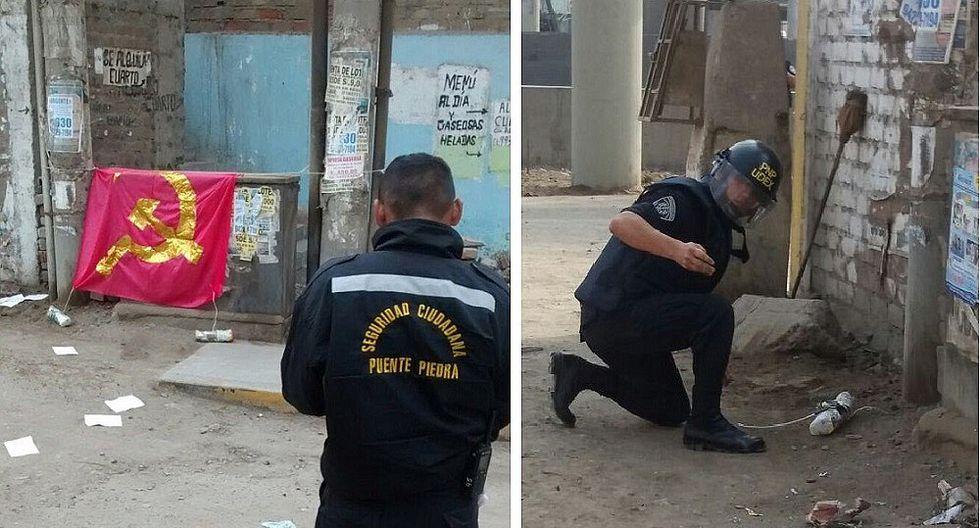 Puente Piedra: PNP encuentra explosivo, bandera y panfletos de Sendero Luminoso