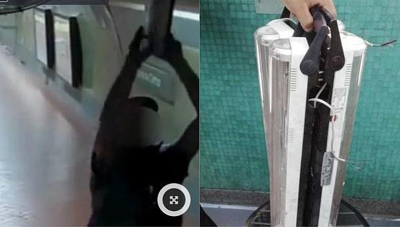Capturan a delincuente que robaba luces de emergencia en estación de tren