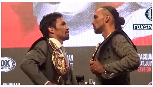 El acalorado careo entre Pacquiao y Thurman previo a la pelea imperdible de esta noche (VIDEO)
