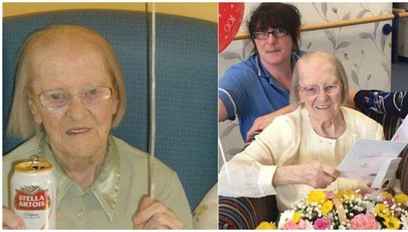 Abuelita cumplió 100 años y asegura que la cerveza es el secreto de su longevidad (FOTOS)