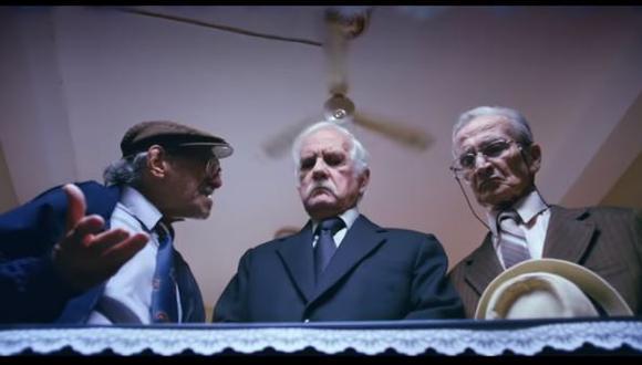 """""""Viejos amigos"""": La última película que protagonizó Ricardo Blume junto a Carlos Gassols y Enrique Victoria. (Foto: captura de video)"""