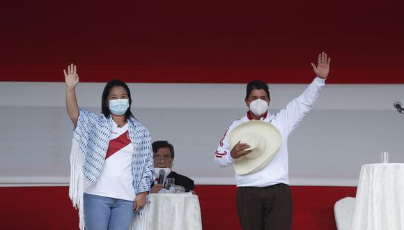 Los candidatos presidenciales Keiko Fujimori y Pedro Castillo tuvieron su primer debate en la provincia de Chota, Cajamarca. (Foto: Hugo Pérez / @photo.gec)