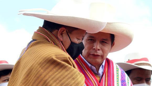 Pedro Castillo y Guido Bellido en Cusco. Foto: Juan Sequeiros.