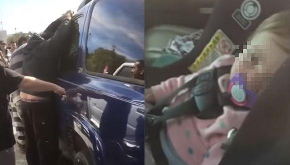 Presos rescatan a bebé que se quedó encerrada dentro de una camioneta (VIDEO)