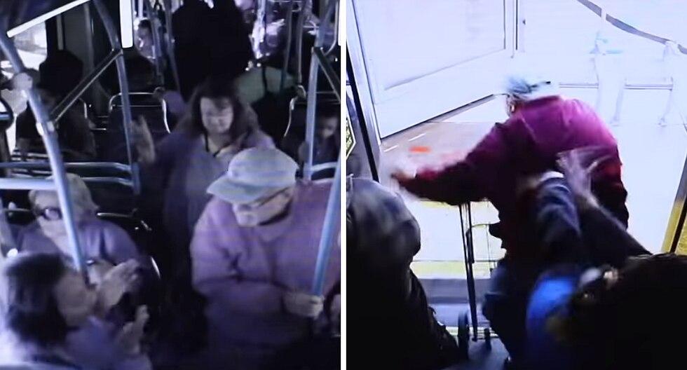 """Mujer empujó a anciano de un bus solo porque le pidió que fuera """"más amable"""" (VIDEO)"""