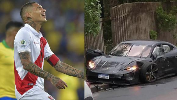 Paolo Guerrero no sufrió ningún daño, sin embargo su costoso auto no tuvo la misma suerte. Foto: composición