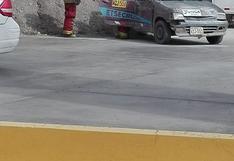 Estalla balón GLP de un auto estacionado en grifo