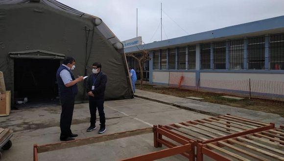 Áncash: instalan en Huarmey tiendas de campaña para atender a pacientes con COVID-19 (Foto difusión).