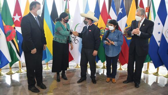 El presidente Pedro Castillo llegó este viernes a México. (Foto: Cancillería de México)