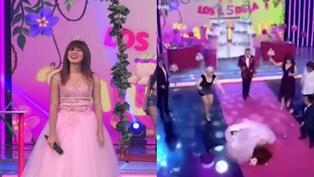 La Uchulú sufrió aparatosa caída mientras ingresaba al set de TV para celebrar su quinceañero (VIDEO)