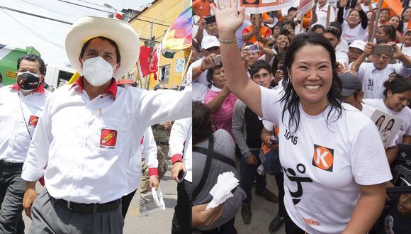 Keiko Fujimori y Pedro Castillo son los candidatos que pasaron a la segunda vuelta de las Elecciones 2021. (Foto: GEC)