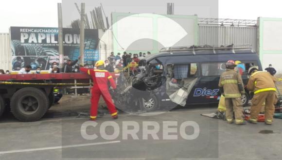 Accidente de tránsito ocurrió en la Panamericana Norte, a la altura del puente Moche.