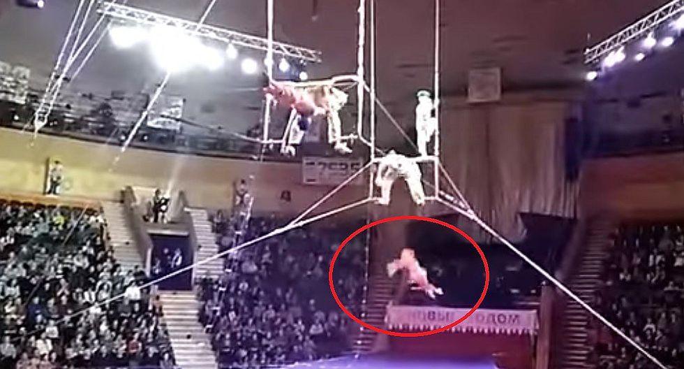 Acróbata de circo cae vertiginosamente tras peligrosa pirueta aérea (VIDEO)