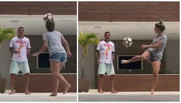 Thaísa Leal cautiva a Paolo Guerrero por su destreza con el balón (VIDEO)
