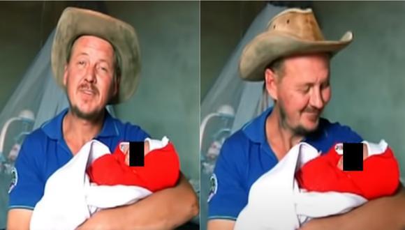 El Gringo Karl cargando a su hija que nació hace menos de un mes.   Foto: Composición 'Al Sexto Día'.