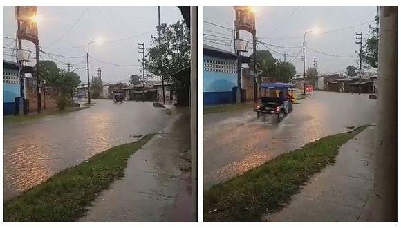 Lluvia torrencial inunda las calles y avenidas de Iquitos