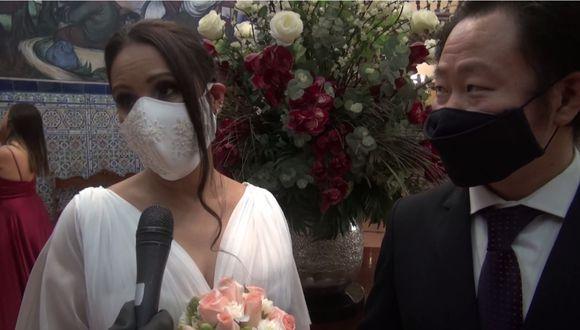 Erika Viviana Muñoz Regis dando sus primeras palabras como esposa de Kenji Fujimori.   Foto: Captura de pantalla.