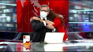Verónica Linares corrió y abrazó a Federico Salazar por su regreso a América Noticias (VIDEO)