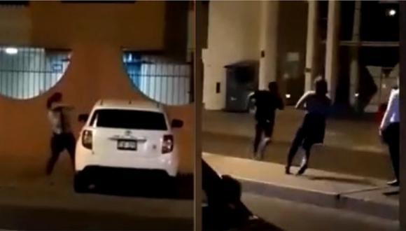 Trujillo: Mujer golpea en la calle a su pareja por presunta infidelidad (VIDEO)